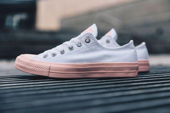 Custom Converse Low Top White Vapor Pink Blush Gum Wedding Bling w/ Swarovski Crystal Rhinestone Jewel Chuck Taylor II All Star Sneaker Shoe