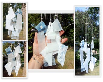 Wind Chime, Stained Glass Chime, Glass Windchime, Whites. Garden Decor, Home Decor, Moon Garden