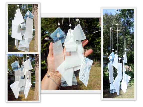 Stained Glass Windchime, Mixed Whites