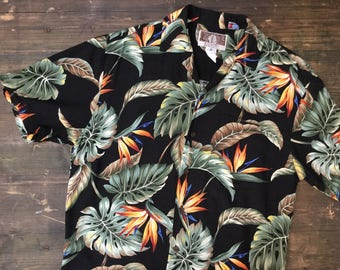 Black Leaf Print Hawaiian Shirt