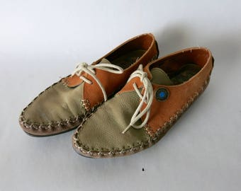 Leather Southwestern Hush Puppies Tie Moccasins