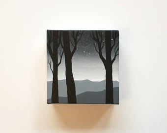 Mountain View III   Original Acrylic Painting   4x4 Inches   By Janelle Anakotta