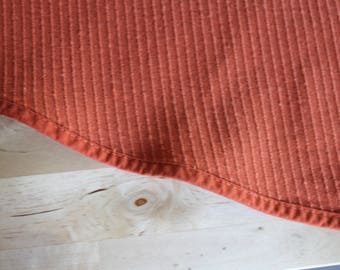 """1 or 2 Vintage SEARS Tablecloths -TOUGHCORD Round TABLECLOTH Burnt Orange 1960s-70s Sears 66"""",Vintage orange round tablecloth"""
