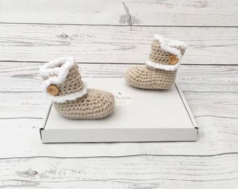 Beige Baby Booties | Gender Neutral Baby Shoes | Winter Baby Boots | Beige  Baby Button