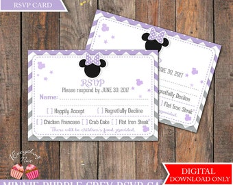 Minnie Mouse Purple Gray Grey Baby Shower RSVP Card