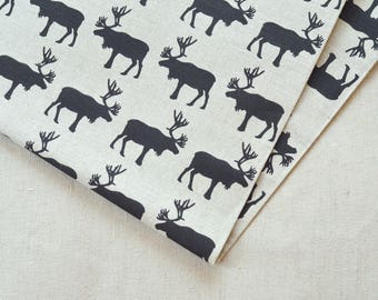 Linen black moose fabric 19,68 x 59 inch
