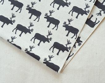 Linen black moose fabric 19,68 x 59 inch
