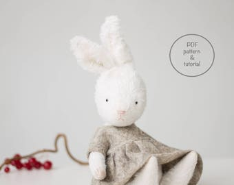 PDF Sewing Pattern & Tutorial Mohair Rabbit Bunny Wool Dress Holly Embroidery 7 Inches Stuffed Animal Pattern For Women Christmas Gift