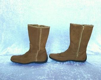 Vintage Womens Suede Beige Boots Beige suede boots Genuine Suede Women's Boots US 9.5 UK 7.5  EU 40