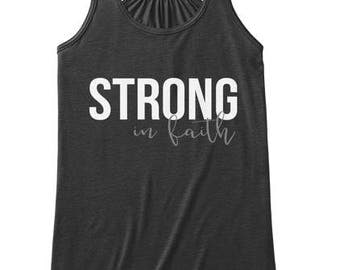 Strong in Faith Scripture Tank Top, Christmas Fitness Gift for Her, Christmas Gift Workout Apparel,