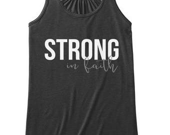 Strong in Faith, Scripture Tank Top, Women Workout Apparel, Illustrated Faith Christian T-shirt, Fitness Gift for Her