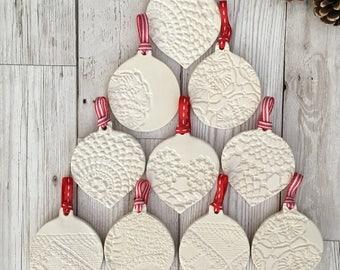 Set of 5 ceramic Christmas bauble decorations