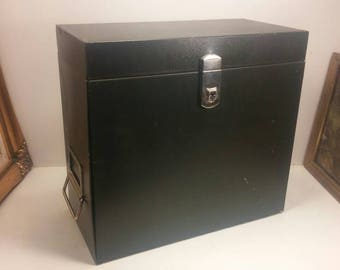 PRONTO Metal Vintage FILE BOX Locking with Unique Opening Front and Secret Hidden Compartment with Key! Excellent Vintage Condition!