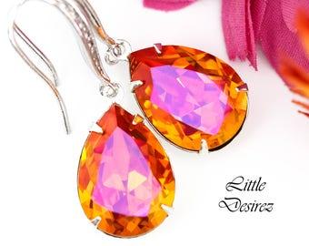 Orange Pink Earrings Fuchsia Orange Earrings Swarovski Crystal Astral Pink Earrings Bridesmaid Earrings Bridal Earring Sparkly Earring AP31H