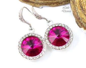Fuchsia Pink Earrings Hot Pink Earrings Dark Pink Earrings Swarovski Rivoli Earrings Bridesmaid Crystal Earrings Rhinestone Earrings FU34H