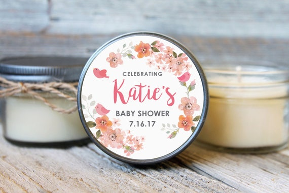Set of 12 - 4 oz SoyCandle Favor//Baby Bird Baby Shower//Girl Baby Shower//Boy Baby Shower//Floral Shower Favor//Bird Baby Shower