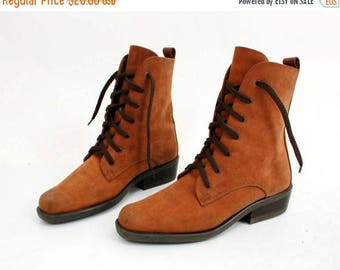 25% OFF Vintage Leather Boots / Lace Up Boots / Brown Leather Boots / Ankle Boots / Woman Boots Size 39