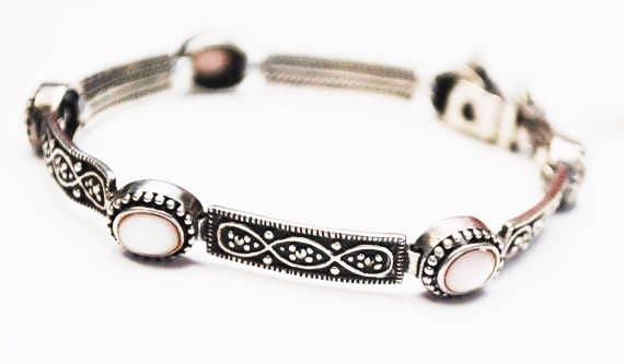 Sterling Link Bracelet - Mother of Pearl - Marcasite - silver tennis  bracelet - Bangle