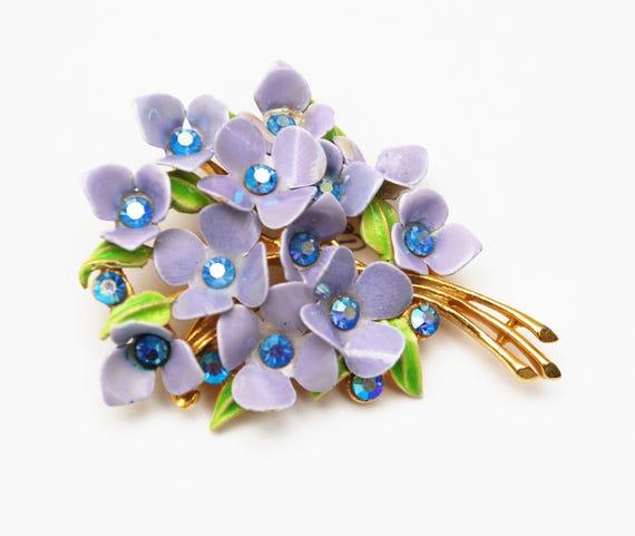 Enamel Flower Brooch  Lavender Purple Rhinestone - floral bouquet - gold plated metal - green leaf