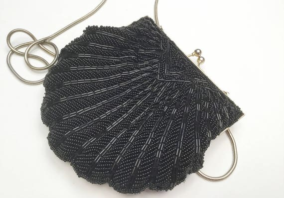 Black beaded scallop  evening bag   - Signed Made in China - vintage hand bag  purse Clutch - gold snake chain strap