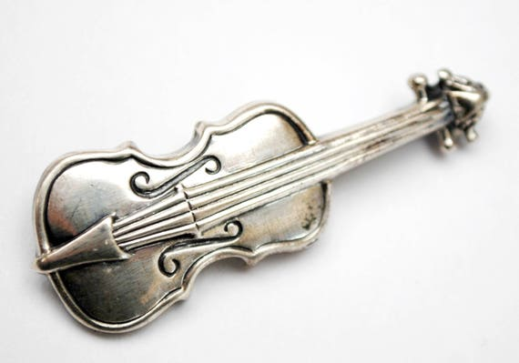 Sterling Violin Brooch  - Signed Sterling - Silver string instrument -  figurine pin
