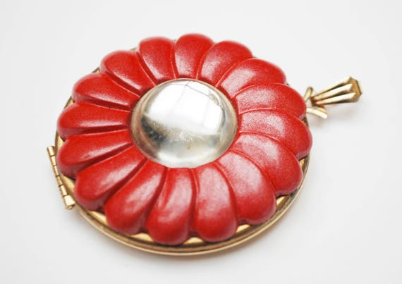 Red Flower  Locket Pendant - Signed Avon - Plastic floral  -photos locket - jewelry making pendant