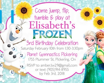 Frozen Fever Olaf Queen Elsa Girls Gymnastics Birthday Printable Invitation