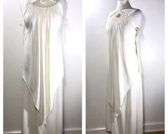 1970s Boho Wedding Dress Cream Crochet Maxi Dress Beach Wedding Dress White Festival Dress Outdoor Wedding Gown