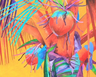 NEW! Art Original Watercolor Painting of Red COCONUT TREE