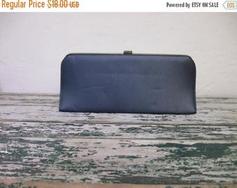Summer Clearout 1960's Navy Blue Leather Clutch