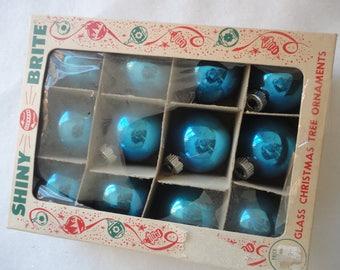 Vintage Shiny Brite Small Blue Glass Ornaments, Royal Blue Glass Ornaments, Ornaments, Glass Ball Ornaments, Shiny Brite, Christmas Tree