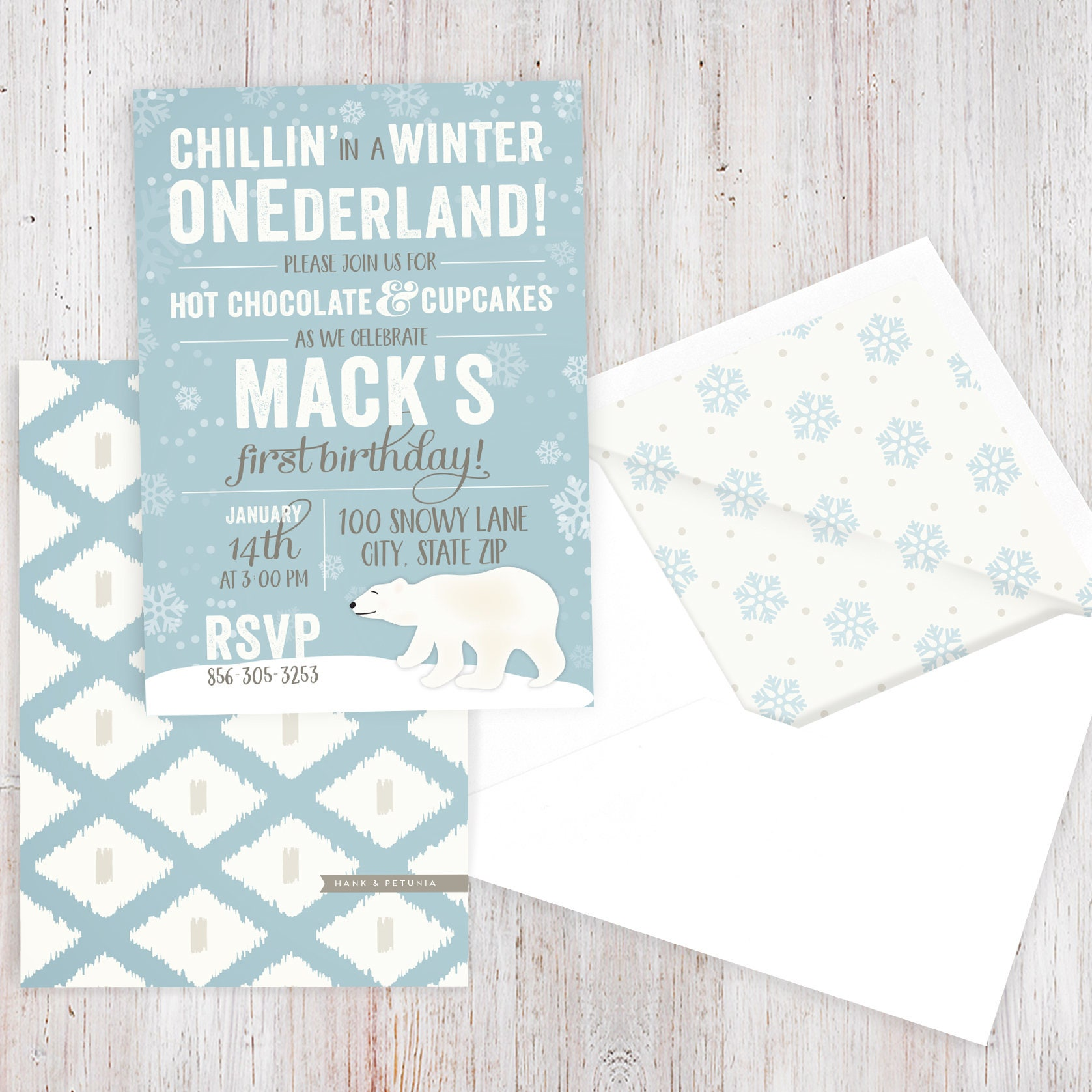 Winter Onderland Polar Bear Birthday Party Invitation, Winter ...