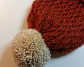 Pom Pom Adult Winter hat. Rust/Copper winter hat with white pom pom. Handknitted in aran yarn