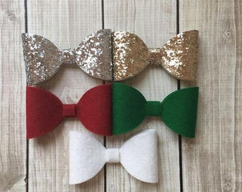 Holiday Felt Bows and Glitter Bows
