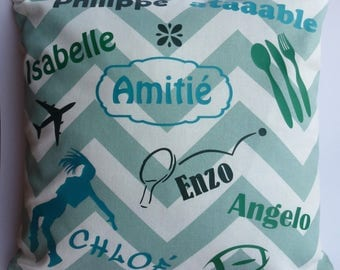 Personalized with names, words pillow