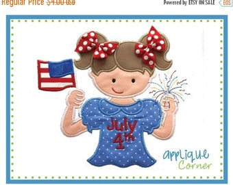 40% OFF 606 4th of July Girl with Flag and Sparkler Applique design digital for embroidery machine by Applique Corner