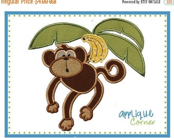 40% OFF 013 Monkey Swinging from a Tree with Bananas applique digital design for embroidery machine by Applique Corner