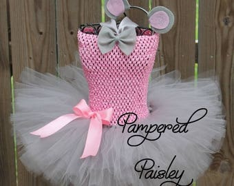 Halloween sale Gray and pink mouse tutu, mouse halloween costume, mouse baby costume, mouse infant tutu, pink mouse ears, mouse baby dress