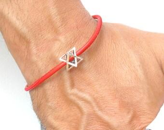 Kabbalah Merkaba Merkabah Chariot Protection 925 Sterling Silver leather bracelet original spiritual Jewish artisan amulet talisman