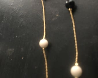 """Vintage 36"""" Fine chain Necklace  pearl and stones  Simple elegant  From 1960s"""