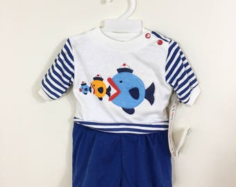 80s Hopscotch White Blue Striped Fish Sailor Suit Set, Top and Shorts, NWT, Size 0 to 6 months