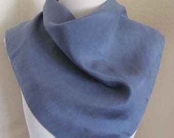 "Scarf Solid Blue Soft Silk Scarf 22"" Square - Affordable Scarves!!!"