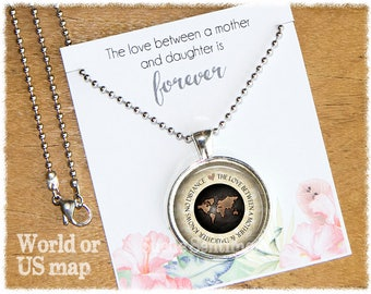Mother Daughter Necklace • Mom Jewelry • World Map Necklace • Long Distance • Gifts For Mom • Mum Necklace