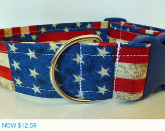 "Sale - 40% Off Dog Collar -Red, White and Blue Flag Collar - Stripes & Stars - ""Old Glory"""