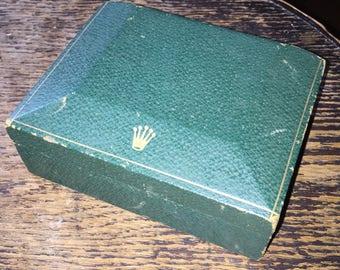 "1960's ROLEX BOX Vintage Rolex Watch Presentation Box Green Leather Wooden Lined Creation Geneva Rolex"""