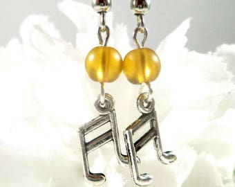 Yellow Music Note Earrings, Music Note Charm Earrings, Music Earrings Yellow Earrings, Womens Jewelry, Bohemian Earrings Music Teacher Gift