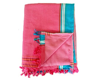 Kikoy Towel Pink with Pink Backing