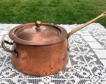 Copper & Brass Pot/Copper Covered Pot/ Made in Korea/Copper on Tin Pot with Cover/Perfect Patina Copper Saucepan/2 Qt Copper Pot/Rustic Pot