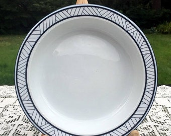 17% OFF SALE Dansk Lyngby/Rimmed Soup Bowl/White with Blue Lines on Edge/1990-93 Portugal/Mix N Match w/Bistro/Dansk International/Lyngby So