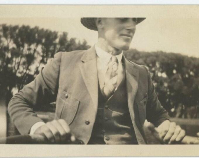 "Harold Seyer in boat on Pleasant Lake-Age 25-Aug 17 1923"" Vintage Snapshot Photo (78597)"